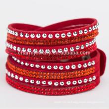 Heißes Bohrgerät-Armband-Kristall geflochtenes Armband-Wasserfall-Leder-Verpackungs-Armband-Charme für Frauen-Großhandelsarmbandschmucksachen BCR030