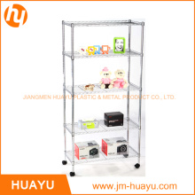 5 Tier Movable Chrome or Powder Coated Wire Shelving for Home, Garage, Supermarket