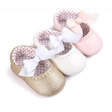 Bowknot & PU macio sola bebê sapatos infantis criança mocassins