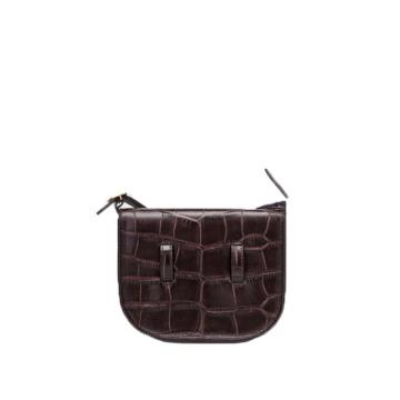 Mini Genuine Leather Crocodile Saddle Shoulder Bag