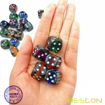 "Bescon Mineral Rocks GEM VINES 6 Sides 16MM Dice Set 20 Pack, 5/8""  D6 Mineral Rock Dice Set in Assorted Colors"
