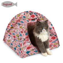 La toile de coton de Chambre de chat intérieure portative de conception de poissons saute la tente de chat d'animal familier
