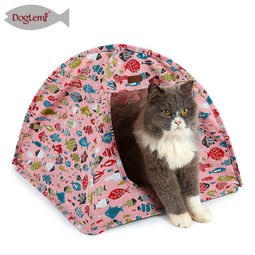 Fish Design Portable Indoor Cat House Cotton Canvas Pop Up Pet Cat Tent
