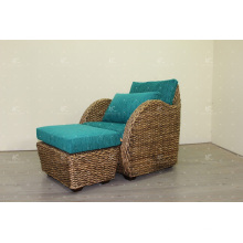 Unique Design Natural Water Hyacinth Arm Chair and Stool