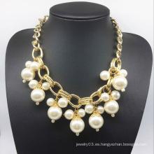 Collar de cadena de oro de la cadena de la perla (XJW13779)