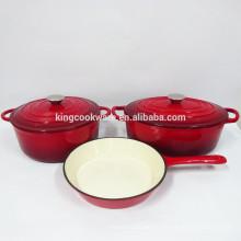 Ensemble de casseroles en fonte émaillée rouge - pot en fonte / poêle en fonte