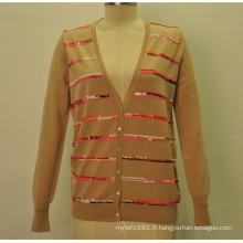 Cardigan en maille en tricot en laine à 100% en laine à laine en laine avec des sequaches