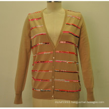 100%Wool New V-Neck Women Knit Cardigan with Sequins