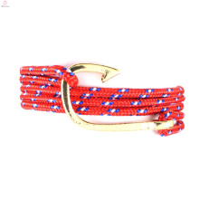 2018 fashion alloy leisure sailing navy wind pirate hook weaving bracelets of manufacturer