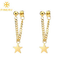 New arrival stainless steel 18k gold plated five-pointed star simple drop earring