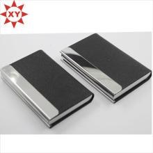 Porte-cartes de visite en cuir noir métal brillant