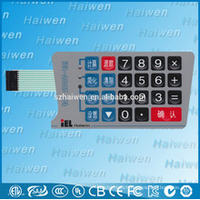 OEM membrane panel switch with rubber dome keys