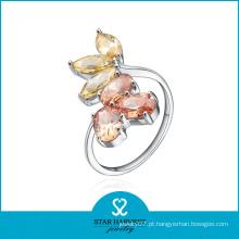 Venda Por Atacado flor forma seis anel de safira amarelo