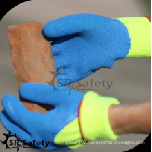 SRSAFETY 3/4 coated crinkle latex winter safety glove/cheap price/acrylic nappy liner coated latex gloves