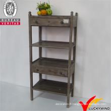 Mobilier en bois rétracté, étagère en bois rétractée avec armoire