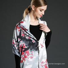 Plum Blossom Design Digitaldruck Schal Schal mit Knöpfen