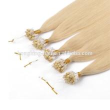 Extensão indiana do cabelo humano do anel do laço de Remy do cabelo barato do queratina da forma da categoria 8A para venda