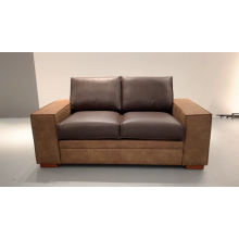 European style vintage leather sofa Home 2 Seater sofa couch living room using