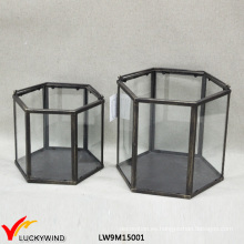 Vintage Hexagonal cristal claro y linterna de metal