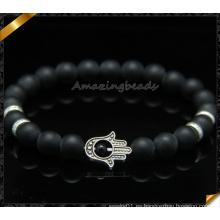 Pulseras de perlas de ágata mate negros con encantos Hamsa (CB086)