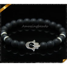 Black Agate Matte Beads Bracelets with Hamsa Charms (CB086)