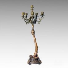 Candelabro Estatua Chica Candlestick Bronce Escultura Tpch-049