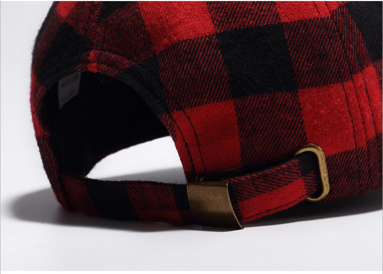 Cotton black and red checkered cap baseball cap (6)