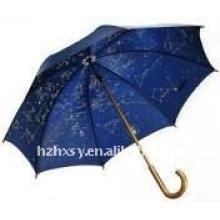 Holzgriff schön drucken Ozean Blau gerade Regenschirm