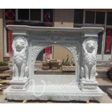 Home decoration Italian style white marble fireplace with lion head