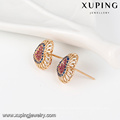 25349 xuping elegant 18k gold color heart shaped design synthetic zircon stud earrings