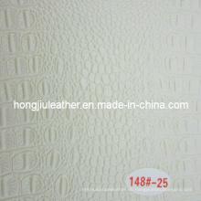 Pequeño cuero de grano de cocodrilo blanco brillante para decorativo
