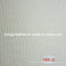 Little Glossy White Crocodile Grain Leather for Decorative
