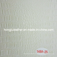 Couro de grão de crocodilo branco lustroso pouco para decorativo