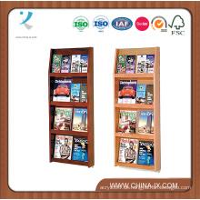 4-Stufen-Magazin-Holzregal mit 8 Taschen