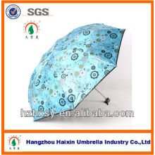 Outdoor Three Folding Umbrella with Flower Design