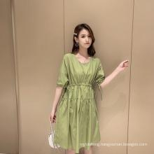 Summer Short-Sleeved Dress Loose Solid Color A-Line Skirt