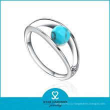 2015 мода Алмазный оптом кольцо с зеленый камень (Р-0392)