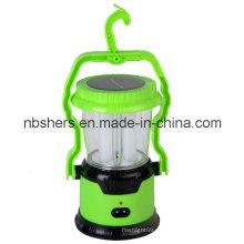 Solar de doble función de 8 LED de camping linterna 1 LED de antorcha