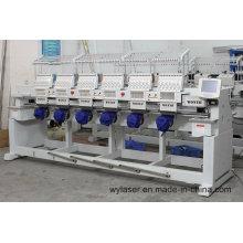 6 Köpfe High Speed Computerized Stickmaschine mit weißer und schwarzer Farbe