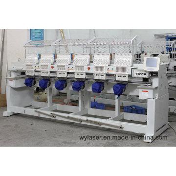 Machine de broderie informatisée haute vitesse à 6 têtes avec couleur blanche et noire
