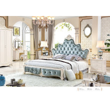 French Luxury Royal Style White Leather Bed Bedroom Sets with White Solid Wood Furniture (6011)