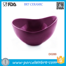 Purple Big Mouth Shape Porcelain Salad Bowl