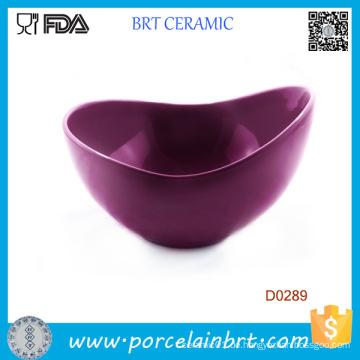 Purpurrote große Mund-Form-Porzellan-Salatschüssel