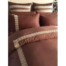Piel de durazno cordón sólido lecho de cama Set hoja funda de edredón conjunto