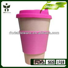 biodegradable bamboo fiber drinking cup wiht silicone lid and sleeve