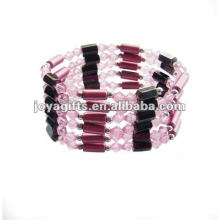 """Magnetic Pink Acrylic Beads wrap Bracelets & Collier 36 """""""