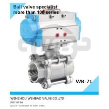 Válvula de bola neumática del actuador AISI304L 3/8 pulgadas 1000wog