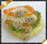 Jade Bracelet with Crystal Fox Charms, Costume Jewelry(Lw018