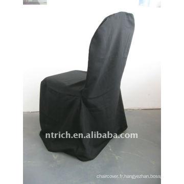 couverture standard de chaise de banquet de couleur noire, matériel de polyester de CTV563, durable et facile à laver
