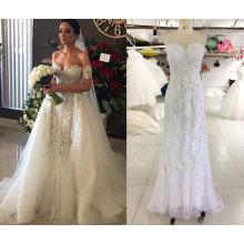 Поп-2016 Продажа 2 в 1 свадебное платье со шлейфом тюль